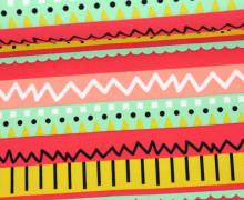 Jersey - Streifen - Zickzack - Punkte - Striche - Gelb/Rot