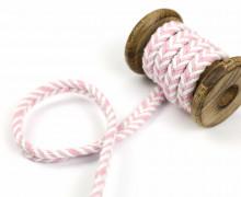 1m Kordel - Fischgrät - 10mm - Hoodiekordel - Kapuzenband - Weiß/Rosa