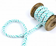 1m Kordel - Fischgrät - 10mm - Hoodiekordel - Kapuzenband - Weiß/Mint