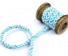 1m Kordel - Fischgrät - 10mm - Hoodiekordel - Kapuzenband - Weiß/Hellblau