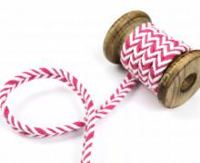 1m Kordel - Fischgrät - 10mm - Hoodiekordel - Kapuzenband - Weiß/Pink
