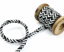 1m Kordel - Fischgrät - 10mm - Hoodiekordel - Kapuzenband - Weiß/Schwarz
