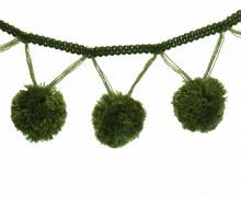 1 Meter Riesen Bommelborte – Bommeln – Pomponborte – Tannengrün
