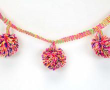 1 Meter Riesen Bommelborte - Bommeln - Pomponborte - Bunt - Pink/Rosa/Gelb