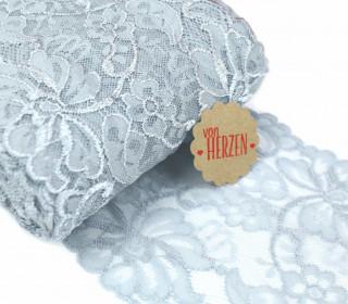 1m elastische Spitze - 15cm - Blumen - Grau