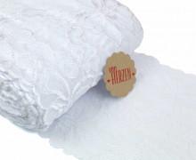1m elastische Spitze - 15cm - Blumen - Weiß