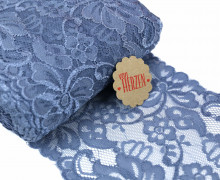 1m elastische Spitze - 15cm - Blumen - Taubenblau