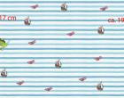 Jersey - GOTS - Paneel - Wilde Freunde - Piraten Crew - Wildblume-Illustration - Vintage Streifen - blau/türkis - hellgrau - meliert - abby and me