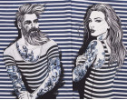 Jersey - GOTS - Kombistoff - Nordic Hipster und Nordic Girl - Summer - Vintage Streifen - Night Blue - Thorsten Berger - abby and me
