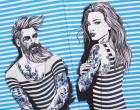 Jersey - GOTS - Kombistoff - Nordic Hipster und Nordic Girl - Summer - Vintage Streifen - Nordsee Blau - Thorsten Berger - abby and me