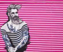 Jersey - Bio Qualität - Paneel - Nordic Hipster - Summer - Vintage Streifen - Pretty Pink - Thorsten Berger - abby and me