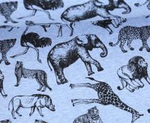 Sommersweat - Safari - Tiere - Vintage - Hellblau Meliert