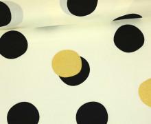 Stoff - Glitzer - Punkte - Shift Dot - Inkwell - Cremeweiß/Gold