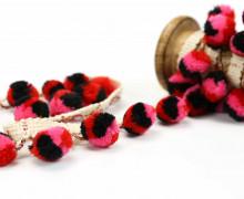 1 Meter Bommelborte - Bommeln - Pomponborte - Afrikastyle - Pink/Rot/Schwarz