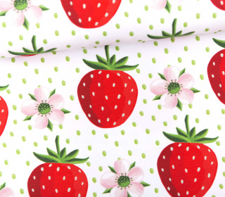 Jersey - Bio Qualität - strawberry love forever - Punkte - Weiß - formenfroh - abby and me