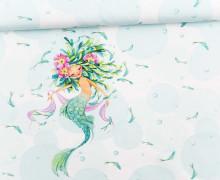 Jersey - GOTS - Paneel - Kleine Wassernixe - Wildblume-Illustration - aqua/weiß - abby and me