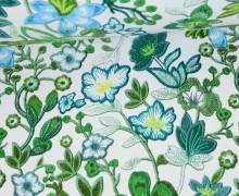 Kunstleder - Fashionstoff - Blumen - Flowers - Weiß/Grün