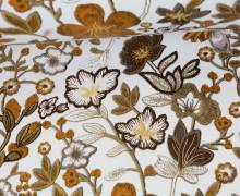 Kunstleder - Fashionstoff - Blumen - Flowers - Weiß/Braun