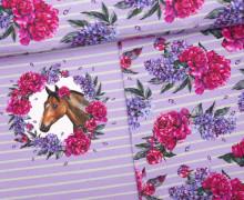 Jersey - Bio Qualität -  Paneel - Dream Horses - Streifen - flieder - abby and me