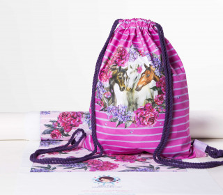 DIY-NÄHSET - Turnbeutel - Dream Horses - pink - abby and me