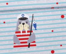 Jersey - GOTS - Paneel - Ahoi! - Piet das Walross - Streifen - Punkte - grau - meliert -  Ungeheuer und Partner - abby and me