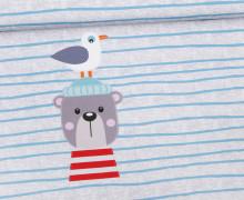 Jersey - GOTS - Paneel - Ahoi! - Ole der Seebär - Streifen - grau - meliert -  Ungeheuer und Partner - abby and me