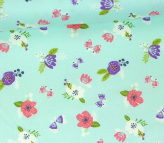 Stoff - Blumen - Schmetterlinge - I believe in Unicorns - Pastellblau