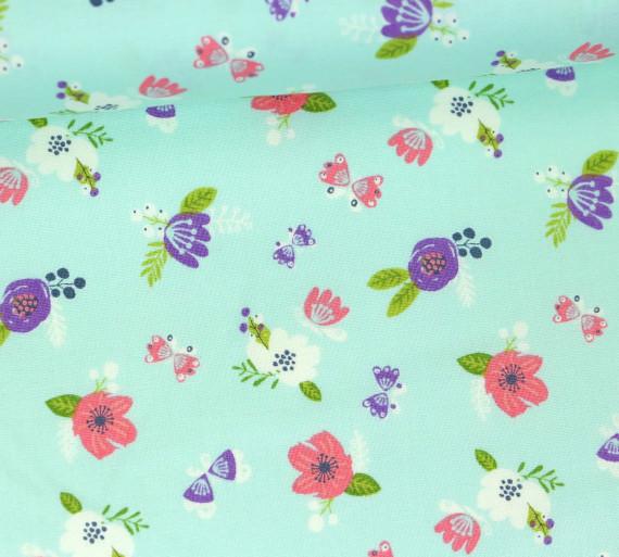 Stoff Blumen Schmetterlinge I Believe In Unicorns Pastellblau
