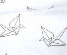 Jersey - Flockprint - Origami - Mono - Vögel - Hamburger Liebe - Weiß