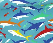 Badelycra - Colorful Sharks - Badestoff - Türkisblau - abby and me