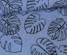 Jersey - Flockprint - Monstera - Mono - Blätter - Hamburger Liebe - Jeansblau meliert