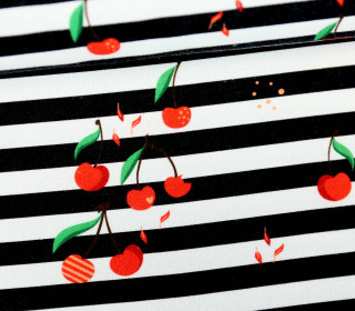 Canvas - Cherry Stripes - schwarz/weiß - Verena Münstermann - abby and me