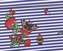 Jersey - Bio Qualität - Paneel - Stitched Flower Stripes - Streifen - dunkelblau - weiß - abby and me