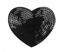 1 Aufbügler - Herz - Pailletten - 5cm - Glänzend - Schwarz