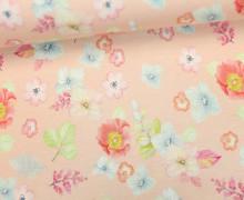 Jersey - Blumenliebe  - Blumen - Blüten - Apricot - Living for Fabrics