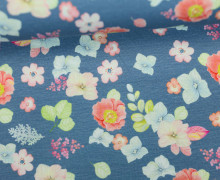 Jersey - Blumenliebe - Blumen - Blüten - Taubenblau - Living for Fabrics