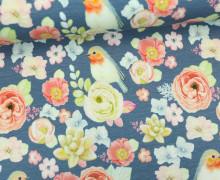 Jersey - Vogelliebe - Vögel - Blumen - Blüten - Taubenblau - Living for Fabrics