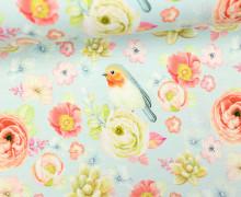 Jersey - Vogelliebe - Vögel - Blumen - Blüten - Babyblau - Living for Fabrics