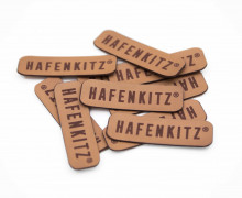 10 FERTIGE KUNSTLEDER LABEL - HafenKitz - Hellbraun - Schriftzug - NIKIKO