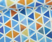 Jersey - Watercolor Triangles - Dreiecke - Wasserfabe - Blau/Orange - Living for Fabrics