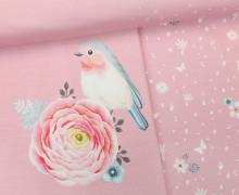 Jersey - Paneel - Vintage Birds - Vögel - Blumen - Blüten - Rosa - Living for Fabrics