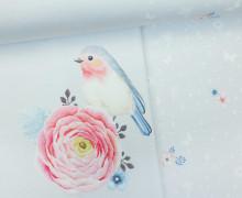 Jersey - Paneel - Vintage Birds - Vögel - Blumen - Blüten - Lichtgrau - Living for Fabrics