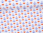 Sommersweat - Stitched Hearts and Anchors - Stickoptik - Weiß