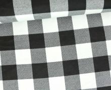 Hemden-Flanell - Karo - Schachbrett - Groß - Flanella - Kariert - Weiß/Schwarz