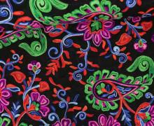 Fashionstoff - Blusenstoff - Blumen - Stickerei - Ethno - Transparent - Schwarz