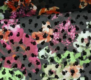 Fashionstoff - Blusenstoff - Blumen - transparent - Schwarz/Grün