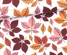 Jersey - GOTS - Leaves of Autumn - October - Orange/Braun - weiß - abby and me