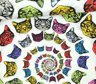 Stoff - Cat-Finity - Katzen - Spirale - Alexander Henry - Weiß