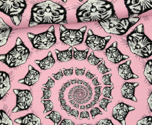 Stoff - Cat-Finity - Katzen - Spirale - Alexander Henry - Rosa