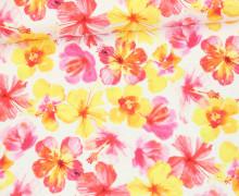 Stoff - Watercolor Flowers - Blumen - Gemalt - Tropicale - Weiß